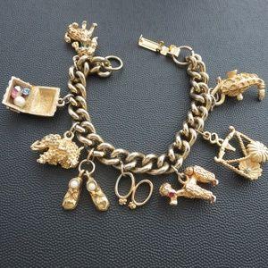 Jewelry - Vintage 70s Charm Bracelet Poodle Baby Shoes Libra